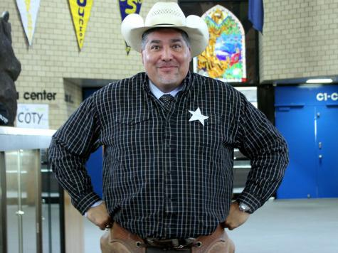 Principal Gil Alvarez showed his support by dressing up for United Way Week.