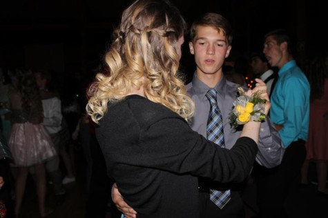 Freshman's Aaron Russell is teaching his date how to slow dance