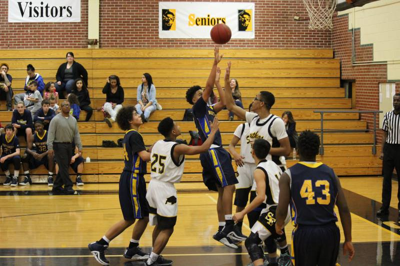 Sophomore Camarion Thompson shoots from inside the paint in the Sophomore  game vs. Southeast.