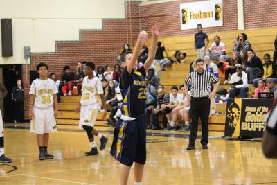 Freshman Lincoln Phillips shoots free throw after technical foul is called on Southeast.