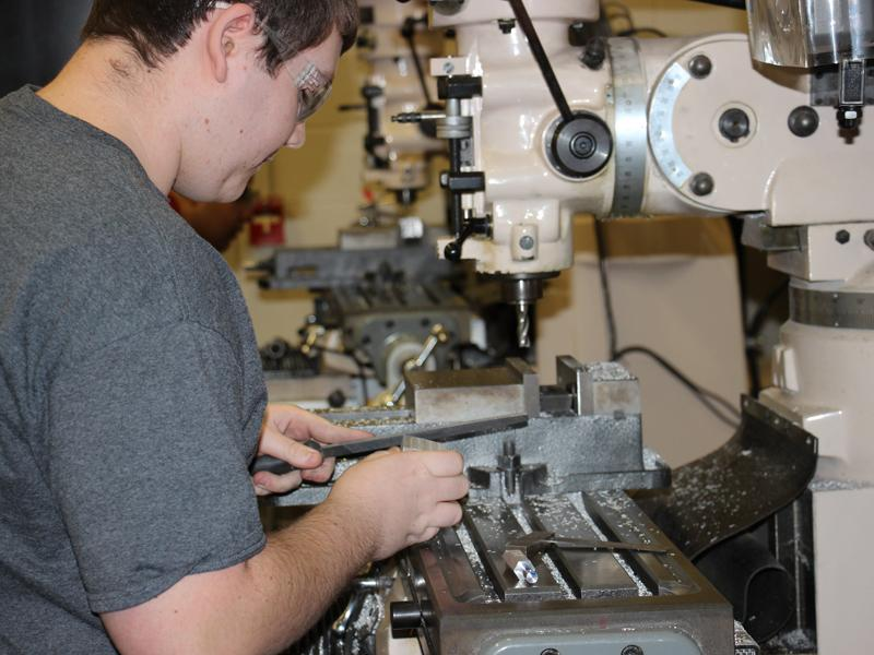 Senior Derek Thurston showcases the skills he is learning in Machine Tools 1. He plans on using these skills in his future engineering career.