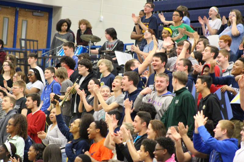 The students get excited for the game.
