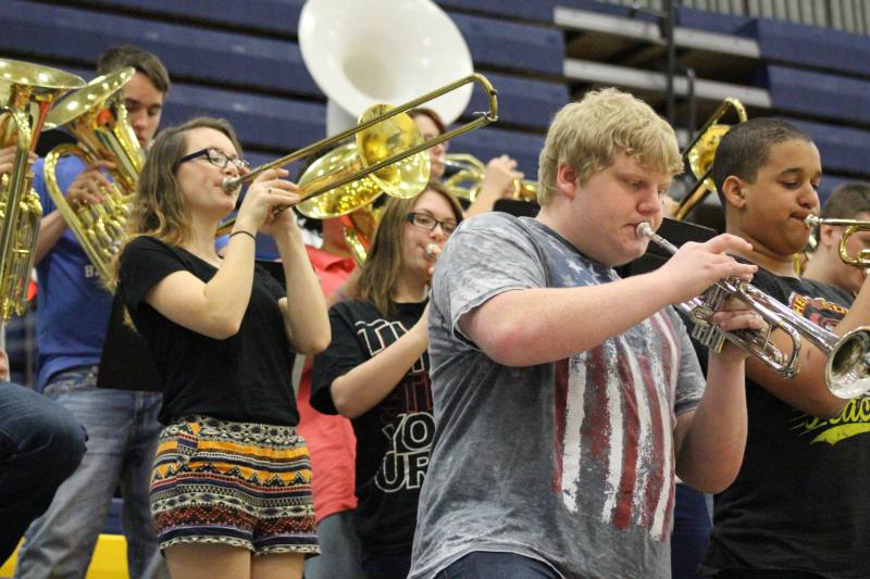 The band gets everyone hyped up for the game.
