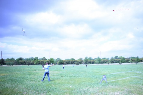 Senior Chris Kliewer pulls his kite into the wind.