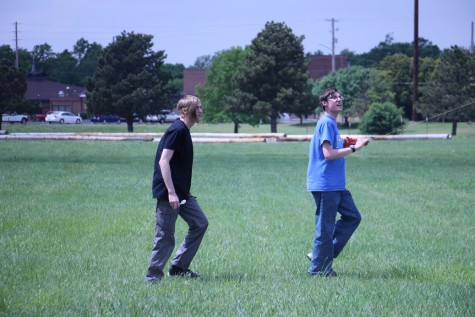 Seniors Jason George and David Hedrick watch their kite climb.