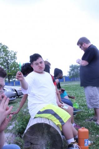 Freshman Jesse Nunez shows off a bubble wand.