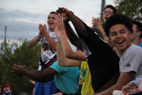 Northwest student section cheers during after an outstanding play by the Northwest offense.