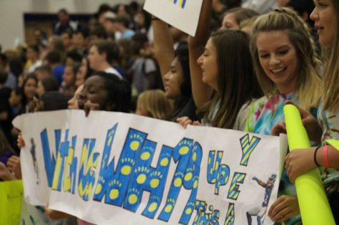 Sophomore Students pepped up at the PEP assembly before the game.