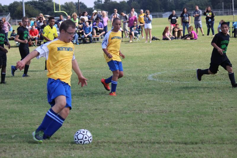 Sophomore Blake Unrein  prepares to kick the ball.