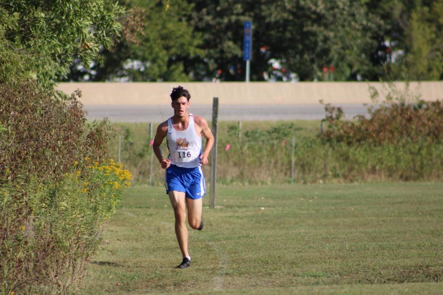 Senior Brayden Rohr takes a commanding lead in the race. His 5k time was 16:59:20.