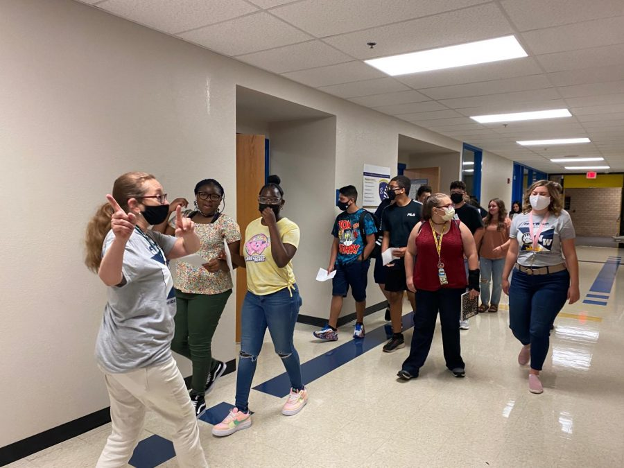 Students tour the building during orientation on Wednesday, Aug. 11.